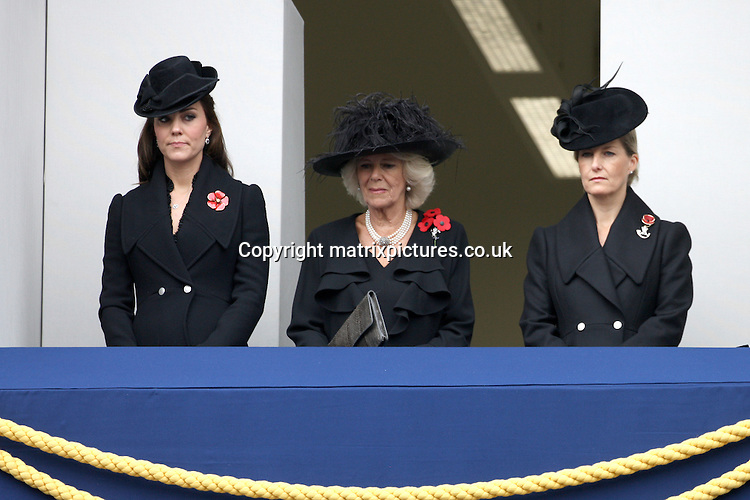 NON EXCLUSIVE PICTURE: PAUL TREADWAY / MATRIXPICTURES.CO.UK<br /> PLEASE CREDIT ALL USES<br /> <br /> WORLD RIGHTS<br /> <br /> Catherine, Duchess of Cambridge, Camilla, Duchess of Cornwall, and Sophie, Countess of Wessex attend the annual Remembrance Sunday Service at the Cenotaph on Whitehall in London.<br /> <br /> NOVEMBER 9th 2014<br /> <br /> REF: PTY 144725