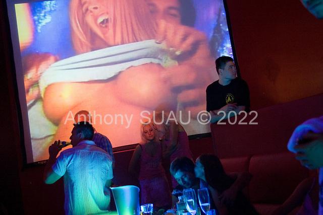 Kiev, Ukraine<br /> July 23, 2005 <br /> <br /> Possibly the most popular night club in Kiev, Arena night club on a Saturday night with an American Playboy DJ.