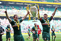 Julian Salvi and Ed Slater lift the Aviva Premiership trophy in celebration. Aviva Premiership Final, between Leicester Tigers and Northampton Saints on May 25, 2013 at Twickenham Stadium in London, England. Photo by: Patrick Khachfe / Onside Images