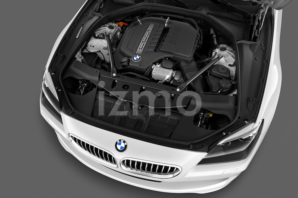 High angle engine detail of a 2010 BMW 6 Series 640i Convertible  .