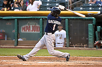 Didi Gregorius (1)  of the Reno Aces at bat against the Salt Lake Bees at Smith's Ballpark on May 4, 2014 in Salt Lake City, Utah.  (Stephen Smith/Four Seam Images)