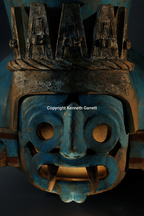 Greatest Aztecs; MM7677; Mexico City; Mexico; Templo Mayor Museum; Tlaloc, Vessel, rain God