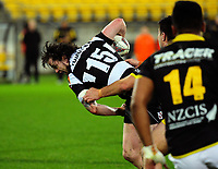 Richard Buckman is tackled during the Mitre 10 Cup rugby union match between Wellington Lions and Hawkes Bay Magpies at Westpac Stadium, Wellington, New Zealand on Wednesday, 6 September 2017. Photo: Dave Lintott / lintottphoto.co.nz