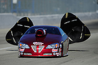 Feb. 10, 2012; Pomona, CA, USA; NHRA pro stock driver Warren Johnson during qualifying at the Winternationals at Auto Club Raceway at Pomona. Mandatory Credit: Mark J. Rebilas-