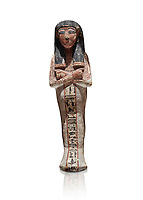 Ancient Egyptian shabtis doll, lwood, New Kingdom, 18th Dynasty, (1538-1040 BC), Deir el Medina. Egyptian Museum, Turin. white background. <br /> <br /> shabti figures began to occur in Middle Kingdom tombs with a twofold nature: on <br /> the one hand, they were meant to be images of their owners, representatives of the deceased in the realm of the Lord of Eternity. <br /> On the other hand, they were also considered to be servants of the deceased, taking the role of the servant statues. The complex <br /> nature of the shabti figure as a substitute of both the owner and his or her servants remains unaltered during the New Kingdom