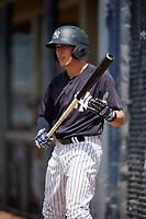 New York Yankees third baseman Kyle Gray (2) on deck during a Florida Instructional League game against the Pittsburgh Pirates on September 25, 2018 at Yankee Complex in Tampa, Florida.  (Mike Janes/Four Seam Images)