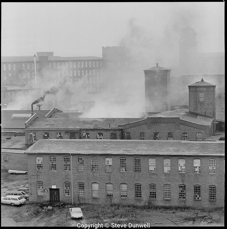 mills on a foggy day, Pawtucket, RI Coates thread mill