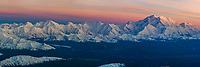 Aerial Panorama Of Mt. Denali And The Alaska Range Mountains At Sunset, View Looking Southwest, Denali National Park, Interior, Alaska.