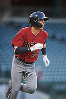 AZL D-backs Angelo Altavilla (10) runs to first base during an Arizona League game against the AZL Cubs 1 on July 25, 2019 at Sloan Park in Mesa, Arizona. The AZL D-backs defeated the AZL Cubs 1 3-2. (Zachary Lucy/Four Seam Images)