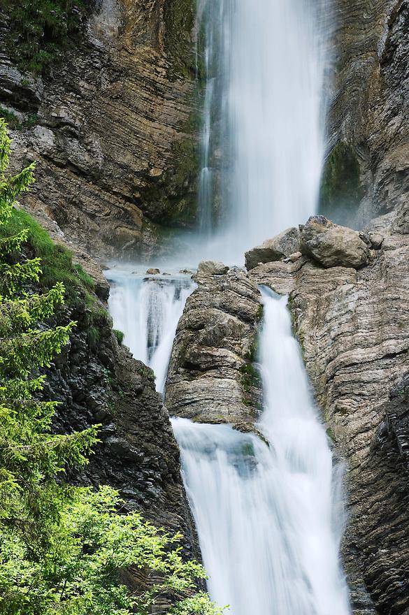 Lower Martuljek Falls, river Martuljek, cascades, rocks<br /> Triglav National Park, Slovenia<br /> July 2009