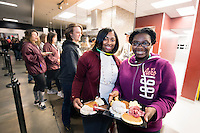 With finals week in full swing at Mississippi State University, students took advantadge of a free breakfast at Fresh Food Company on Monday [Dec. 5]. Khadija Griffin, a sophomore educational psychology major from Lambert, and Jamireya Grant, a sophomore biochemistry major from Canton, were among the approximately 1,200 students to attend Finals Break for Breakfast, which was sponsored by MSU Dining and the MSU Student Association. The late-night event featured free food served by university adminstrators and professors, a DJ and prizes. <br />