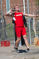 Kirkwood senior Reece Goddard throws the shot put en route to the shot put title with a best of 57-1 at the 2016 MSHSAA Class 5 District 2 Track and Field Meet at Ladue High School, St. Louis, Saturday, May 14.