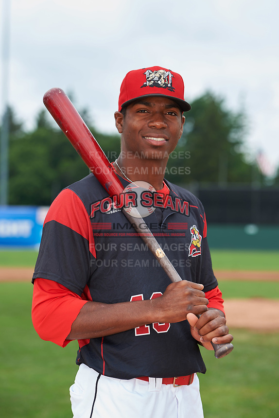 Batavia Muckdogs Thomas Jones (29) poses for a photo before a game against the Tri-City ValleyCats on July 15, 2017 at Dwyer Stadium in Batavia, New York.  Tri-City defeated Batavia 5-4.  (Mike Janes/Four Seam Images)