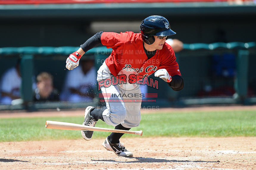 New Britain Rock Cats outfielder A.J. Pettersen #19 during a game against the Erie Seawolves on June 20, 2013 at Jerry Uht Park in Erie, Pennsylvania.  New Britain defeated Erie 2-0.  (Mike Janes/Four Seam Images)