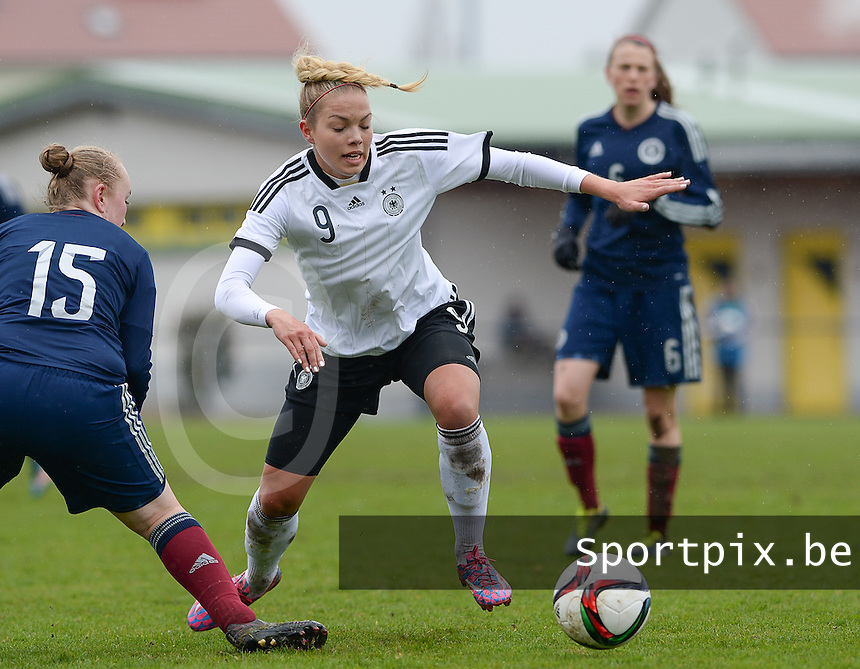 20150404 - FORST , GERMANY  : German Nina Ehegotz pictured during the soccer match between Women Under 19 teams of Germany and Scotland , on the first matchday in group 5 of the UEFA Elite Round Women Under 19 at WaldseeStadion , Forst , Germany . Saturday 4th April 2015 . PHOTO DAVID CATRY