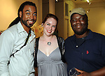 "From left: Anthony Suber, Jessica Jacobi and Theodore Taylor at the ""Strung Out"" backyard barbecue at the Winter Street Studios Saturday July 24,2010.(Dave Rossman/For the Chronicle)"