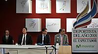 BOGOTÁ - COLOMBIA, 03-12-2018: Jorge Cardona (Izq.) Editor General de El Espectador, Eduardo Garcés (2 Izq.) Vice Presidente de Comunican SA, Fabian Hernández (2 Der.) CEO de Movistar y Fidel Cano (Der.) Director de El Espectador, durante ceremonia de premiación del Deportista del Año El Espectador, realizada en el Ecosistema Empresarial Coneccta, en la ciudad de Bogotá. / Jorge Cardona (L) General Editor of El Espectador, Eduardo Garces (2 L) Vice President of Comunican SA, Fabian Hernández (2 R) CEO of Movistar and Fidel Cano (R) Director of El Espectador, during ceremony awarding of the El Espectador Sportsman of the Year, held in the Coneccta Business Ecosystem, in the city of Bogota. Photo: VizzorImage /Luis Ramírez / Cont.