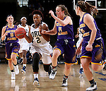 SIOUX FALLS, SD - MARCH 6:  Jordan Doyle #2 of Oral Roberts dribbles past defender Michelle Maher #14 of Western Illinois in the 2016 Summit League Tournament. (Photo by Dave Eggen/Inertia)