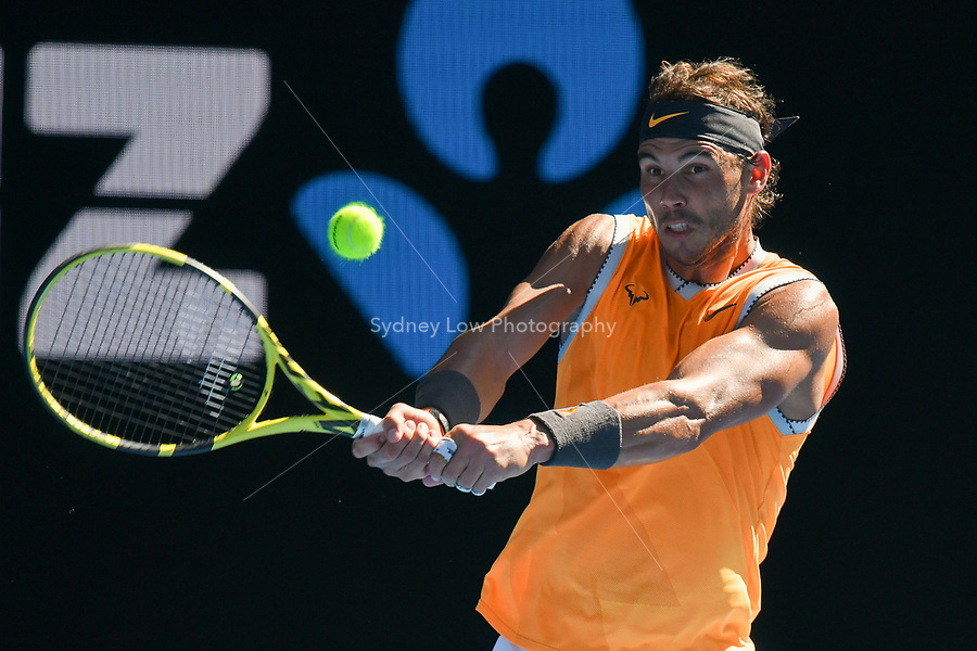 January 20, 2019: 2nd seed Rafael Nadal of Spain in action in the fourth round match against Tomas Berdych of the Czech Republic on day seven of the 2019 Australian Open Grand Slam tennis tournament in Melbourne, Australia. Photo Sydney Low