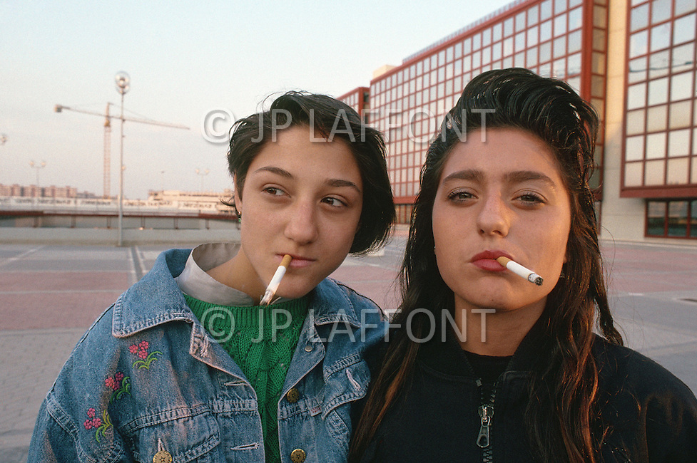 "April 27, 1990, Rome, Italy. Photographing for the book ""One day in the life of Italy"", an exploration of Rome. Young girls near Cinecitta area."