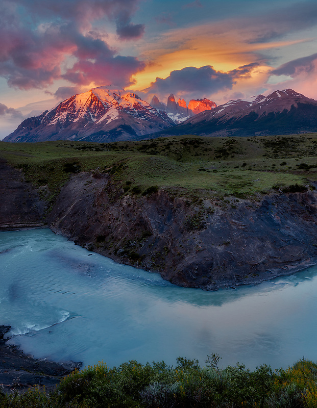 Rio Paine River with sunrise on the Towers. Torres del Paine National Park, Chile. Argentina