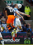 Jordan Rhodes of Sheffield Wednesday in action with Jonathan Hogg of Huddersfield Town during the English Championship play-off 1st leg match at the John Smiths Stadium, Huddersfield. Picture date: May 13th 2017. Pic credit should read: Simon Bellis/Sportimage