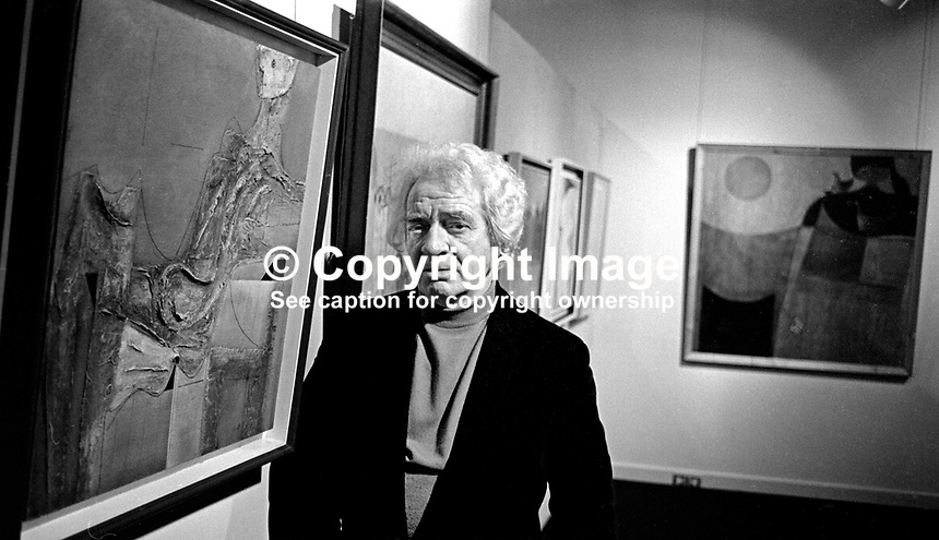 Colin Middleton, artist, surrealist, Belfast, N Ireland, UK, at a exhibition of his paintings in the Ulster Museum. Also a poet and musician he was head of art at Friends' School, Lisburn. 197601200053c.<br />