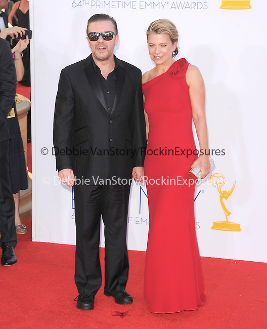 Ricky Gervais, Jane Fallon. at The 64th Anual Primetime Emmy Awards held at Nokia Theatre L.A. Live in Los Angeles, California on September  23,2012                                                                   Copyright 2012 Hollywood Press Agency