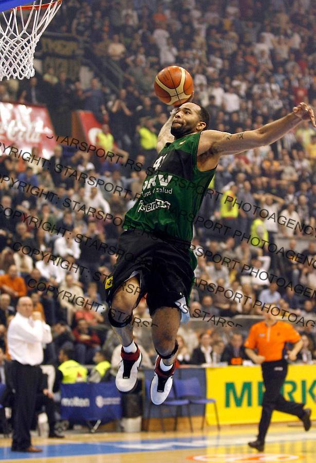 Kosarka, Euroleague TOP 16, season 2006/07<br /> Partizan (Belgrade) Vs. Joventut (Badalona)<br /> Charles Gaines<br /> Beograd, 01.03.2007.<br /> FOTO: Srdjan Stevanovic