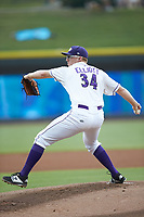 Winston-Salem Dash starting pitcher Jake Elliott (34) in action against the Lynchburg Hillcats at BB&T Ballpark on August 1, 2019 in Winston-Salem, North Carolina. The Dash defeated the Hillcats 9-7. (Brian Westerholt/Four Seam Images)