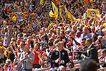 LONDON, ENGLAND - MAY 12: Newport County Fans in the Stadium before the FA Carlsberg Trophy Final between York City and Newport County at Wembley Stadium on May 12, 2012 in London, England. (Photo by Dave Horn - Extreme Aperture Photography)
