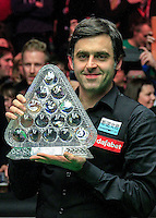 Ronnie O'Sullivan poses with the Dafabet trophy after beating Barry Hawkins 10-1 in the Dafabet Masters FINAL between Barry Hawkins and Ronnie O'Sullivan at Alexandra Palace, London, England on 17 January 2016. Photo by Liam Smith / PRiME Media Images