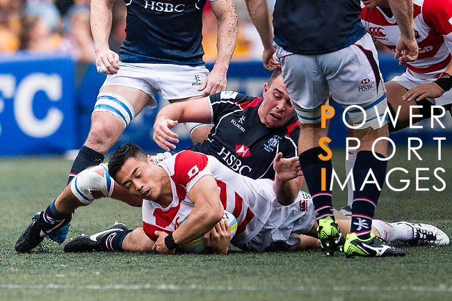 Akihito Yamada of Japan (L) in action during the Asia Rugby Championship 2017 match between Hong Kong and Japan on May 13, 2017 in Hong Kong, China. Photo by Marcio Rodrigo Machado / Power Sport Images