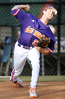 Pitcher Scott Firth #20 warms up in the bullpen during a  game against the Clemson Tigers at Doug Kingsmore Stadium on March 31, 2012 in Clemson, South Carolina. The Tigers won the game 3-1. (Tony Farlow/Four Seam Images)..