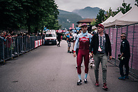 Tony Martin (DEU/Katusha-Alpecin) leaving the finish zone after Rohan Dennis pushed him off the winners 'hotseat''<br /> <br /> stage 16: Trento &ndash; Rovereto iTT (34.2 km)<br /> 101th Giro d'Italia 2018