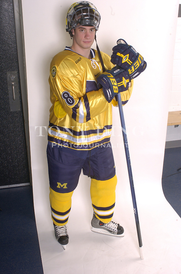.Michigan Hockey player portrait taken at Yost Ice Arena in Ann Arbor, Mich on Monday, October 4, 2004. (Photo by TONY DING / Daily).Senior defender Eric Werner (3)..Michigan Hockey player portrait taken at Yost Ice Arena in Ann Arbor, Mich on Monday, October 4, 2004. (Photo by TONY DING / Daily).Sophomore defender Jason Dest (8)..Michigan Hockey player portrait taken at Yost Ice Arena in Ann Arbor, Mich on Monday, October 4, 2004. (Photo by TONY DING / Daily).