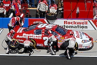 Apr 28, 2007; Talladega, AL, USA; Nascar Busch Series driver Aric Almirola (20) pits during the Aarons 312 at Talladega Superspeedway. Mandatory Credit: Mark J. Rebilas