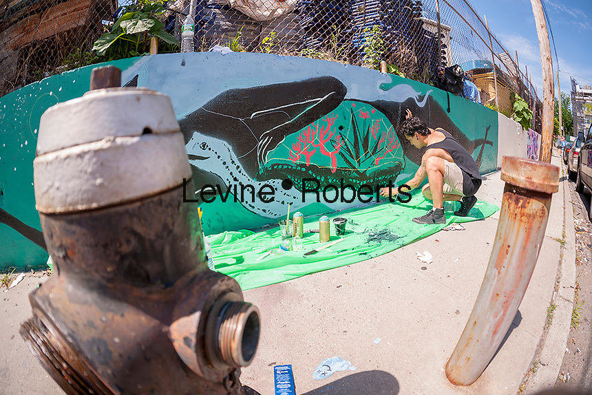 Street artist Jerome Velasco at work on his mural at the Welling Court Mural Project in the Astoria neighborhood of Queens in New York on Saturday, June 13, 2015. The annual neighborhood event decorates walls in this industrial part of Astoria. The project is crowd-funded and emerging street artists work side by side with established stars.  (© Richard B. Levine)