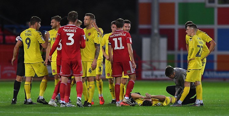 Fleetwood Town's Wes Burns lays Injured <br /> <br /> Photographer Dave Howarth/CameraSport<br /> <br /> EFL Leasing.com Trophy - Northern Section - Group B - Tuesday 3rd September 2019 - Accrington Stanley v Fleetwood Town - Crown Ground - Accrington<br />  <br /> World Copyright © 2019 CameraSport. All rights reserved. 43 Linden Ave. Countesthorpe. Leicester. England. LE8 5PG - Tel: +44 (0) 116 277 4147 - admin@camerasport.com - www.camerasport.com