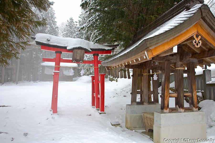 Jigokudani, Nagano Prefecture, Japan<br /> Shinto shrine with red torii gate in winter storm