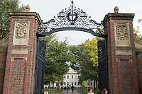 The Johnson Gate is the western entrance to Harvard Yard at Harvard University in Cambridge, Massachusetts, USA, on Mon., Oct 15, 2018.