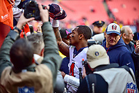 Landover, MD - November 18, 2018: Houston Texans quarterback Deshaun Watson (4) gives his hat to a young Houston Texans fan after game between the Houston Texans and the Washington Redskins at FedEx Field in Landover, MD. The Texans defeated the Redskins 23-21. (Photo by Phillip Peters/Media Images International)