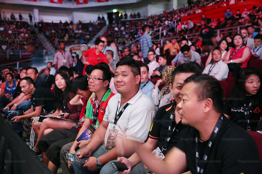 Spectators watching the cage fighting <br /><br />MMA. Mixed Martial Arts &quot;Tigers of Asia&quot; cage fighting competition. Top professional male and female fighters from across Asia, Russia, Australia, Malaysia, Japan and the Philippines come together to fight. This tournament takes place in front of a ten thousand strong crowd of supporters in Pelaing Stadium. Kuala Lumpur, Malaysia. October 2015