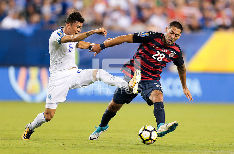 Philadelphia, PA - Wednesday July 19, 2017: Iván Mancia, Clint Dempsey during a 2017 Gold Cup match between the men's national teams of the United States (USA) and El Salvador (SLV) at Lincoln Financial Field.