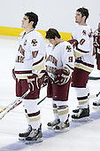 Brian Boyle 10, Nathan Gerbe 9 and Brett Motherwell 8 of Boston College line up for the national anthem. The Eagles of Boston College defeated the Falcons of Bowling Green State University 5-1 on Saturday, October 21, 2006, at Kelley Rink of Conte Forum in Chestnut Hill, Massachusetts.<br />