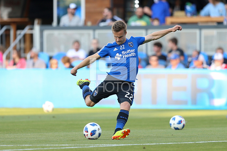 San Jose, CA - Saturday July 28, 2018: Tommy Thompson during a Major League Soccer (MLS) match between the San Jose Earthquakes and Real Salt Lake at Avaya Stadium.