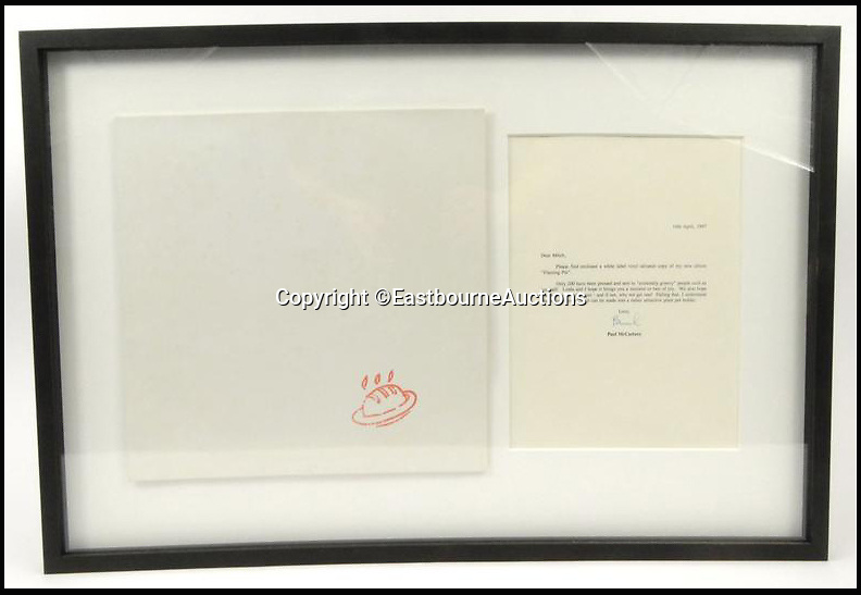 BNPS.co.uk (01202 558833)<br /> Pic: EastbourneAuctions/BNPS<br /> <br /> Paul McCartney White Label pressing of Flaming Pie with accompanying letter and mailing envelope to the reverse.<br /> <br /> A drum kit belonging to a member of rock legend Jimi Hendrix's band has been unearthed in a psychedelic time warp discovery.<br /> <br /> The instruments together with guitars, gaudy shirts, leather jackets, and cowboy boots belonged to Mitch Mitchell, the drummer in the Jimi Hendrix Experience.<br /> <br /> His widowed wife Dee locked them in a trunk which she put into a storage unit in Rye, East Sussex, years ago.<br /> <br /> They are now being sold at auction in Eastbourne.