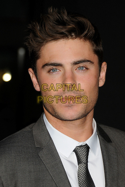 Zac Efron.'New Year's Eve' Los Angeles premiere at  Grauman's Chinese Theatre, Hollywood, California, USA..5th December 2011.headshot portrait grey gray tie white shirt stubble facial hair suit .CAP/ADM/BP.©Byron Purvis/AdMedia/Capital Pictures.