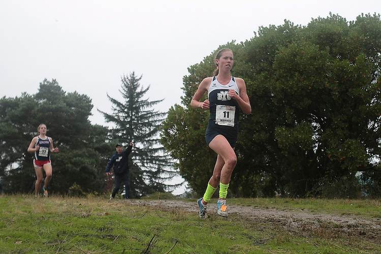 October 27, 2012; Portland, OR, USA; BYU Cougars runner Ashleigh Warner (11) during the WCC Cross Country Championships at Fernhill Park.