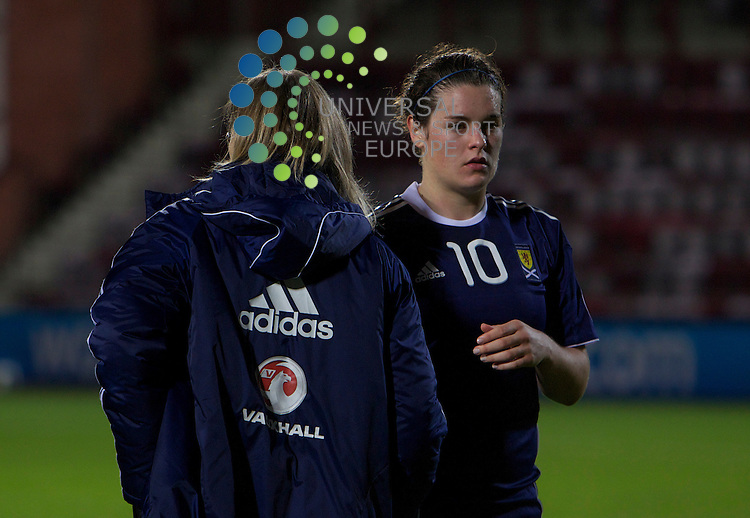 UEFA WOMENS EURO CHAMPIONSHIP QUALIFIER 2011-13  SCOTLAND V WALES.SCOTLAND   V WALES.27-10-11...Jennifer Beattie with manager  Anna Signeul , in tonight's UEFA Women's Euro Championship Qualifer game between, Scotland and Wales...At Tyncastle Park Stadium, Edinburgh...Picture, Mark Davison/Universal News and Sport (Scotland) .Thursday 27th October 2011.